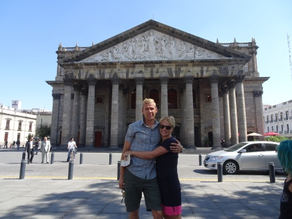 Striking a pose in front of the Teatro Degollado