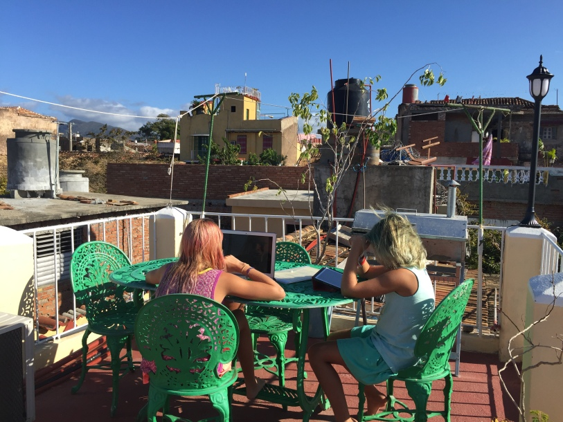 Distance education on the terrace